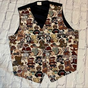 Vintage Christmas Teddy Bear Embroidered Vest L/XL
